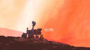 Ilustração mostrando o rover Perseverance da NASA na superfície de Marte.