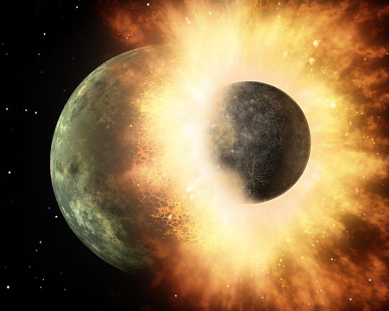 Ilustração artística da colisão que formou a Lua, segundo as teorias mais recentes.