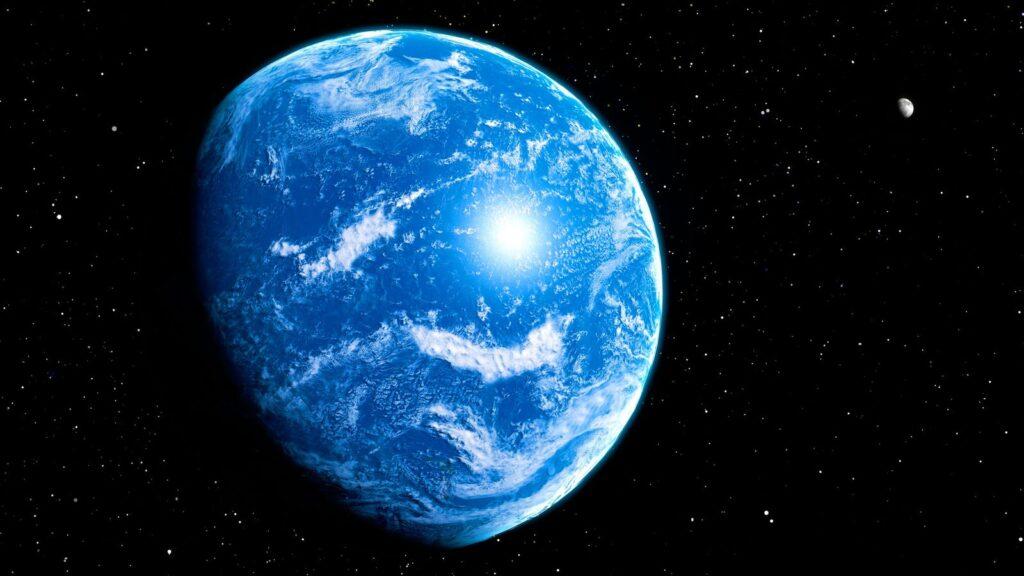 Imagem mostrando a Terra com aparência similar com a atual, mais agradável para a vida quando comparado com as imagens anteriores do post.