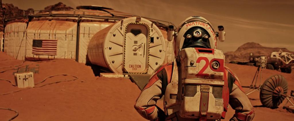 Imagem mostrando como seria habitat em Marte. Imagem tirada de um filme hollywoodiana.