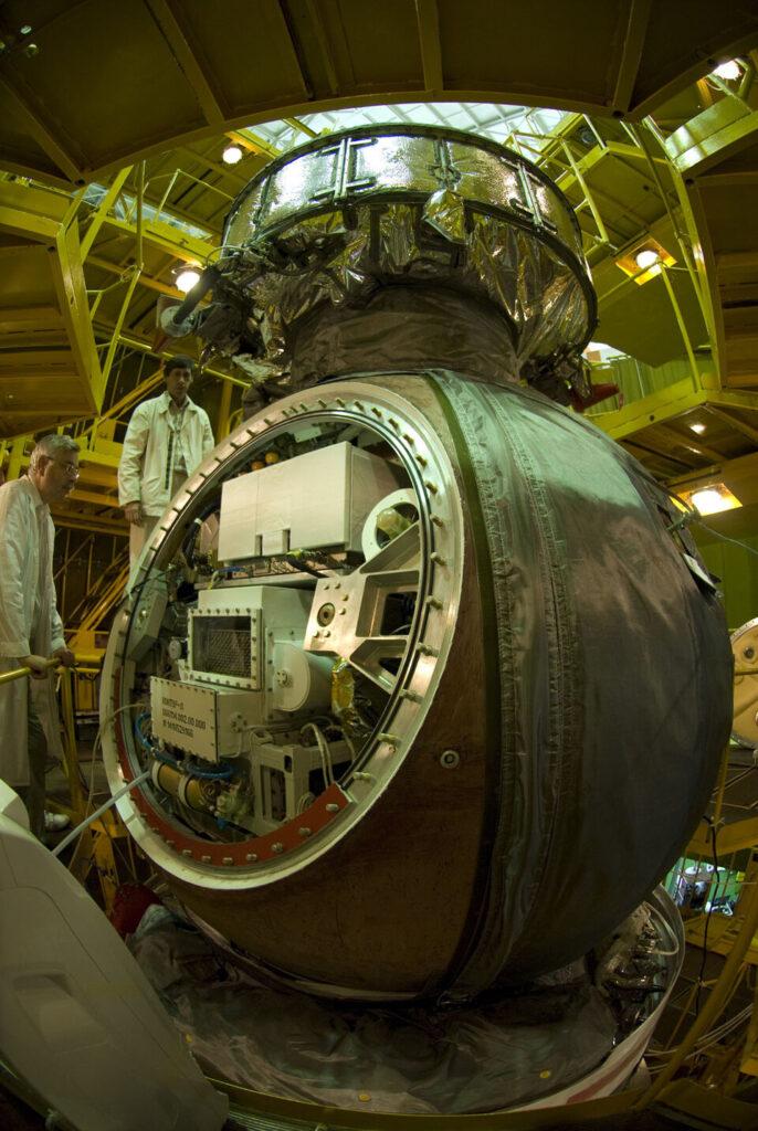 Mostrar capsula da missão da Agência Espacial Européia.