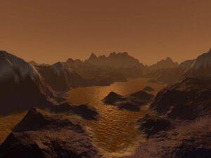 Visualização da lua Titã