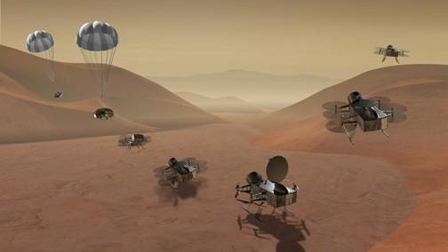 Representação artística da missão Dragonfly da NASA para facilitar o entendimento das diferenças com as outras missões espaciais que já aconteceram.